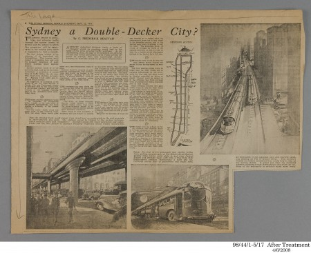 Newspaper clipping, 'Sydney A Double-Decker City?', The Sydney Morning Herald, paper