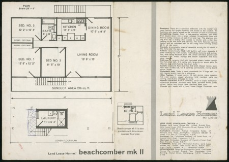 'Beachcomber mk II House' Lend Lease Homes brochure,1964