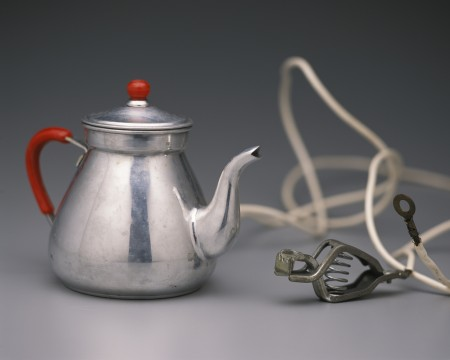 Silver car kettle with cord