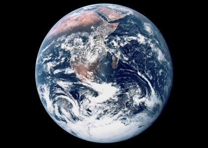 "How the ""Blue Marble"" view of the Earth actually looked, with South at the top. Courtesy NASA"