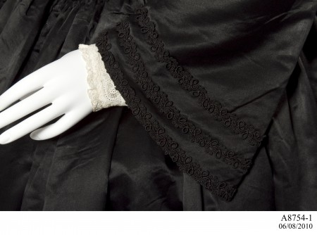 Detail of lace work on sleeve of mourning dress