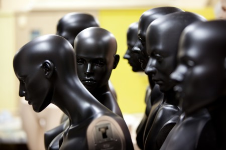 Photograph of mannequins in a row