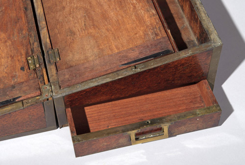 Detail of portable writing desk drawer
