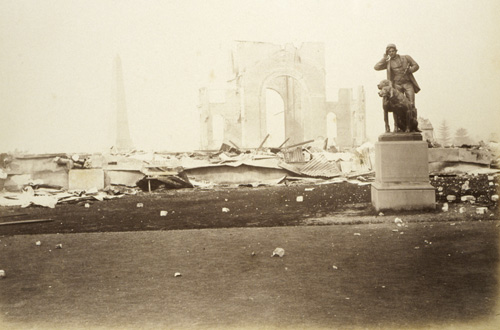 Photograph of 'Garden Palace' building after the fire, 1882