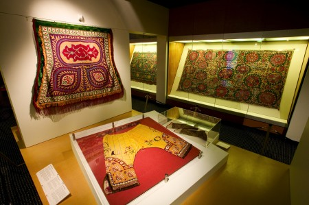 Photograph of textiles and ceramics of central Asia