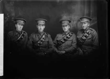 studio portrait of four WW1 soldiers