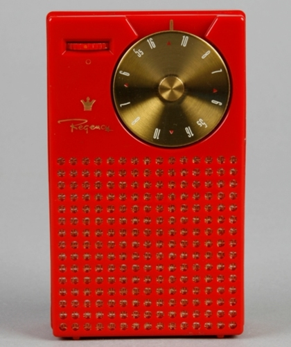 Photograph of Red Regency plastic transistor radio