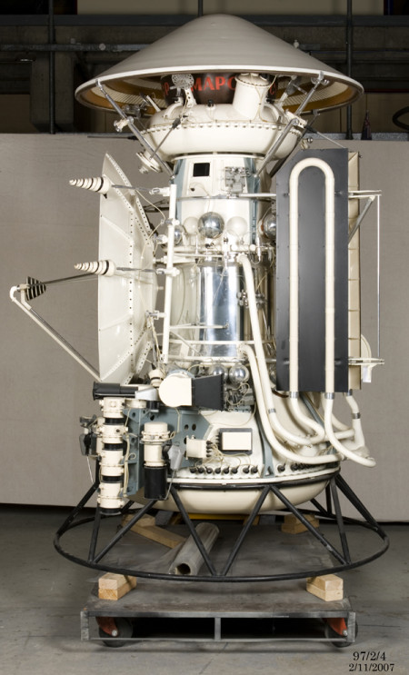 Photograph of 1:2 scale model of the Mars 3 spacecraft
