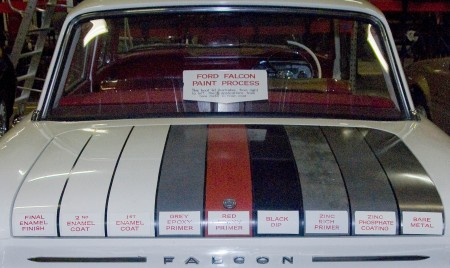 Photograph of boot lid of the Falcon showing the paint layers.