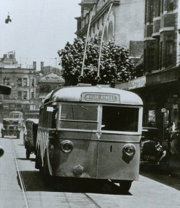 Photograph of trolley bus on route in Sydney