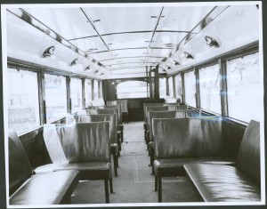 Photograph of interior view of the trolley bus.