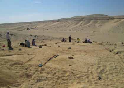 Photograph of Excavating the Wadi Mouth site at the South Tombs Cemetery