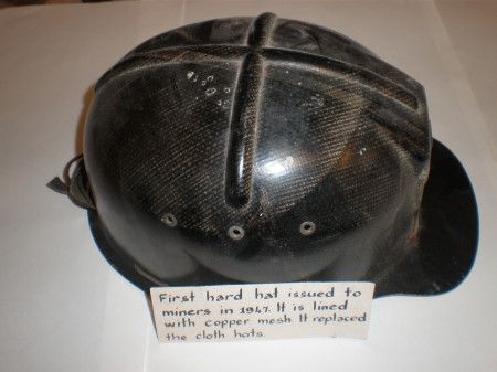 Photograph of 1947 miners hard hat