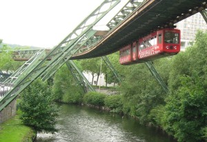 Photograph of the Schwebebahn suspended railway, Wuppertal, Germany