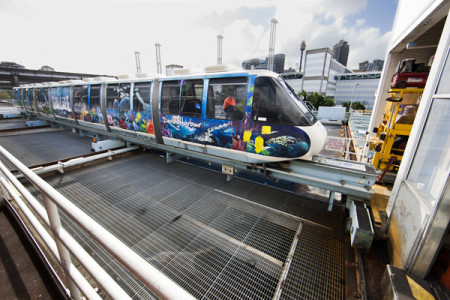 Photograph of Monorail coming into the maintenance depot on the traverser