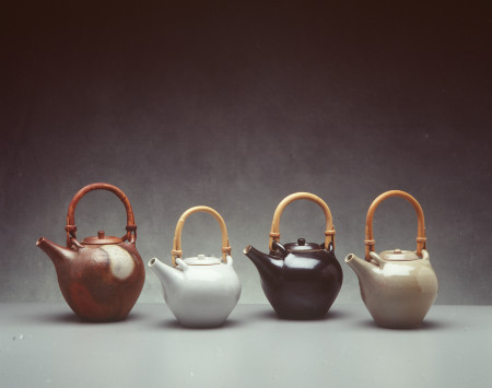 Photograph of Teapots, [porcelain/stoneware]/cane handle
