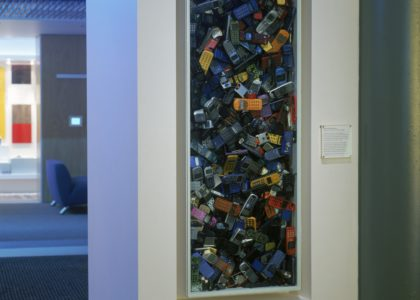 Photograph of disposed Mobile telephones installation