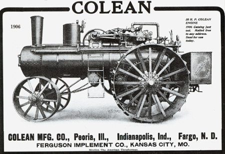 """Advertisement for a """"Colean"""" 30 h.p. steam portable engine"""