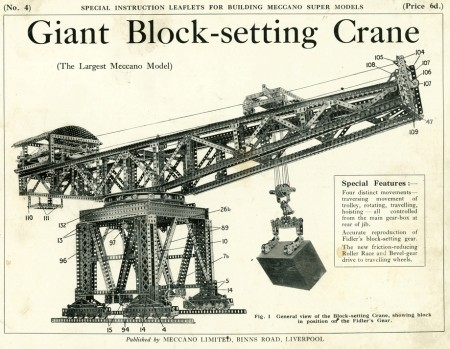Cover of the plans for the Meccano giant block-setting crane