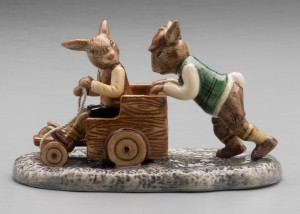 Billycarting represented in Bunnykins figurines