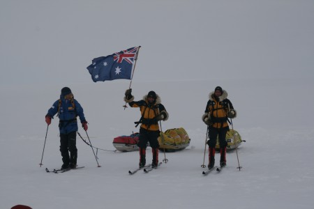 Photograph of Aleksander Gamme, James Castrission and Justin Jones on the final day of their expedition