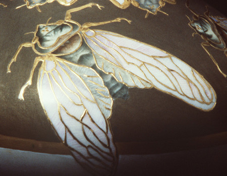 Photograph of detail of Cicada vase decorated by Delia Cadden