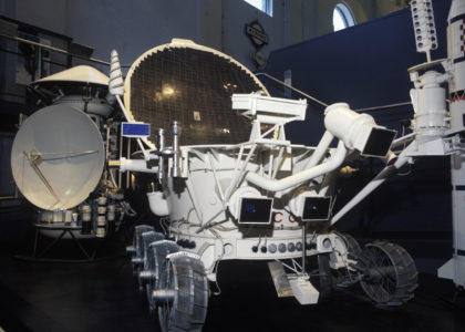 Photograph of full scale replica of the Soviet Lunokhod remote-controlled lunar rover