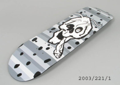 "Photograph of skateboard , with prototype graphic, ""skateboarding saved my life"""