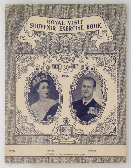 Cover of a souvenir school exercise book from the 1954 Royal Visit