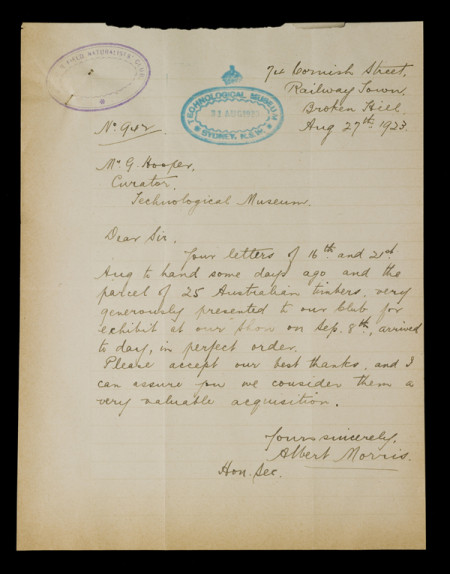 ARC/Bush/1 Letter from Albert Morris to Museum Curatot George Hooper, 27 August 1923