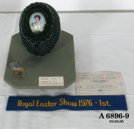 Photograph of beaded Easter egg and chick, first prize ribbon Royal Easter Show 1976