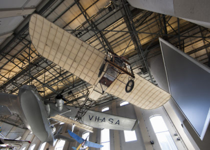 A view from Level 1 in the Boiler House looking up at Maurice Guillaux's Bleriot XI
