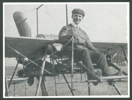 Photograph of WE (Bill) Hart on aircraft