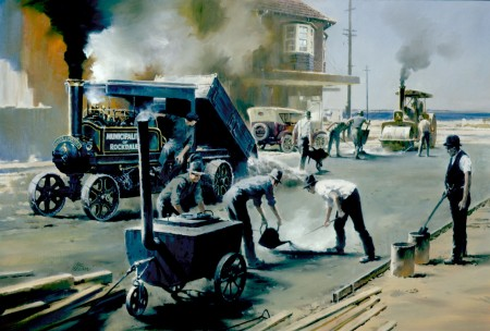 Oil painting of the Aveling and Porter steam wagon at work