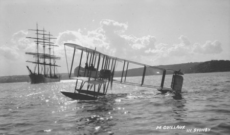 Guillaux with a passenger in Lebbeus Hordern's Farman seaplane, May 1914
