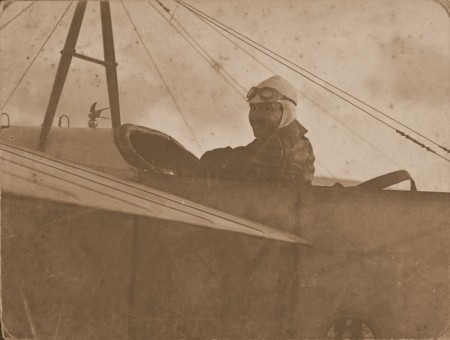Maurice Guillaux in his Bleriot, 1914
