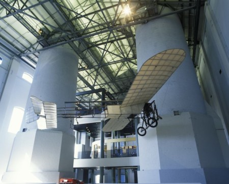 View of the Blériot XI aircraft on display in the Powerhouse Museum's Transport exhibition