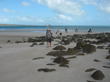 Past Masters expedition team arrives on Morry Isenberg's beach