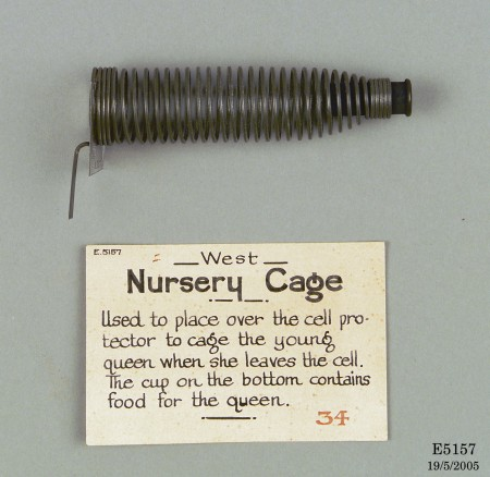 E5157-1 West spiral bee nursery cage, metal, made by Pender Brothers Limited,  West Maitland, New South Wales, Australia, 1931