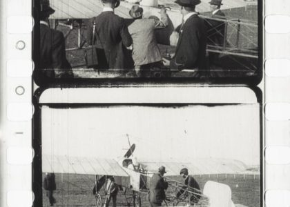 Guillaux preparing to take off from Ascot racecourse in August 1914