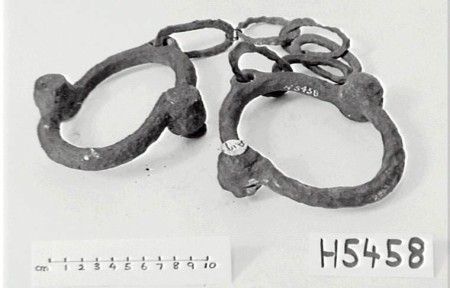 Leg irons, convict, maker / place / date unknown