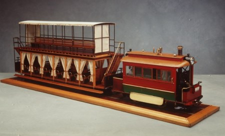 Model of a Sydney steam tram and carriages by Bob Cutcher, 1970