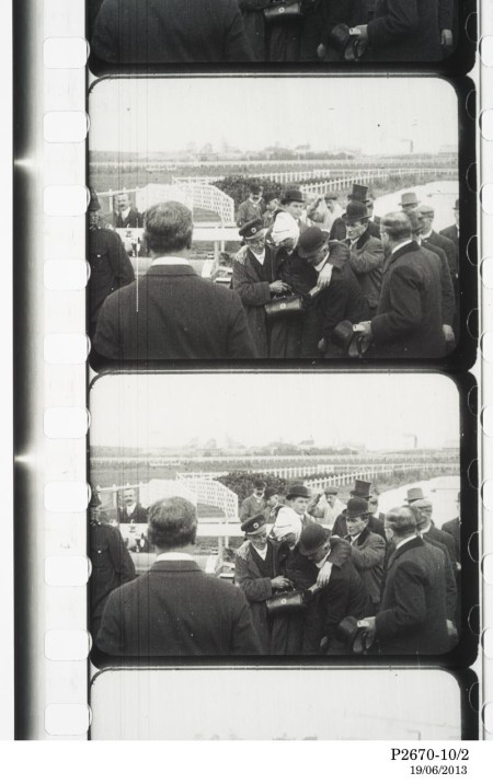 Frames from a film clip of the Bleriot's crash at Ascot racecourse