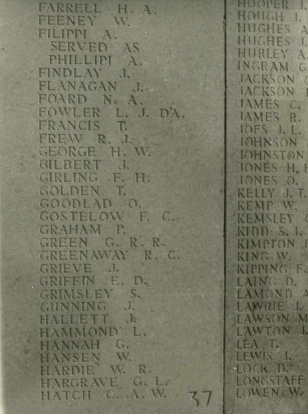 Photograph of Lone Pine Memorial, Gallipoli, showing name of G L Hargrave