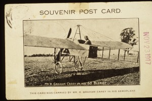 Souvenir postcard showing Carey in his Blériot