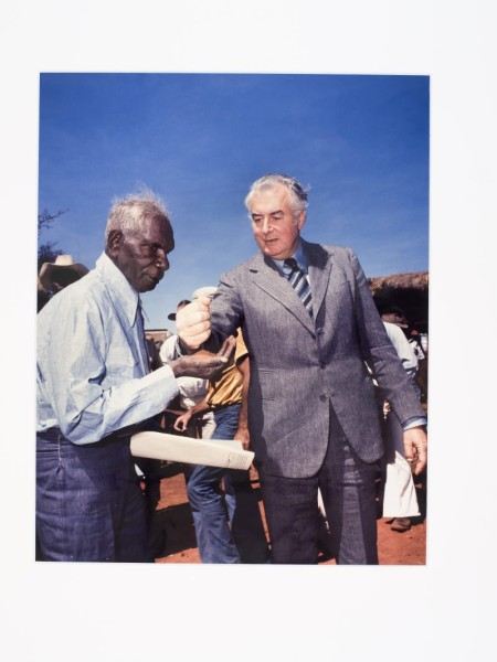 Photograph, 'Gough Whitlam pouring soil into the hands of traditional owner Vincent Lingiari', by Mervyn Bishop, Northern Territory, Australia, 1975