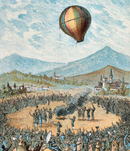 Overview of Annonay in Vivarais: the origin of airships, June 4, 1783 Print