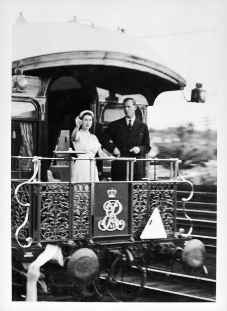 Queen Elizabeth and Prince Philip on the Observation platform of the Governor-General's carriage, courtesy of State Records of New South Wales.