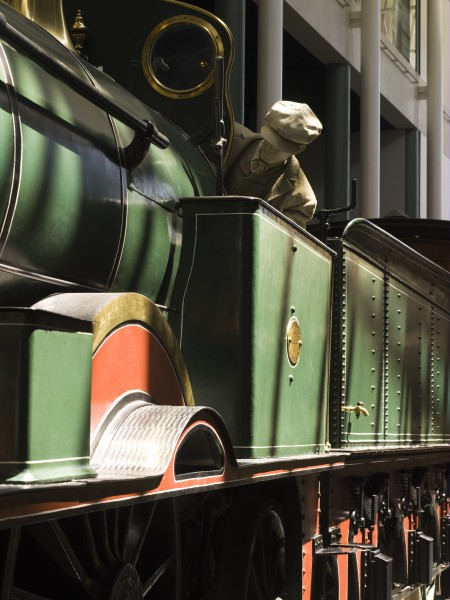 Representation of William Sixsmith driving steam Locomotive No. 1 on display at the Powerhouse Museum, Sydney. Steam locomotive MAAS collection, 7949, gift of the Railway Commissioners of NSW, 1884.
