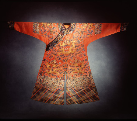 Photograph of Imperial dragon robe, semi-formal (jifu), orange silk gauze/silk/metallic thread, maker unknown, China, c.1800